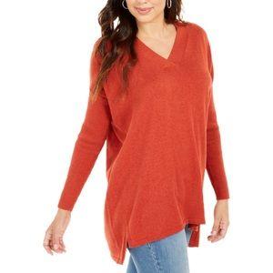 Style & Co Rib Sleeve V-Neck Tunic Sweater Orange